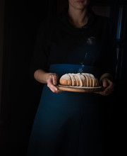 Still Life In The Small Dutch-style. A Woman Holding  Tray Of Bread. Vintage