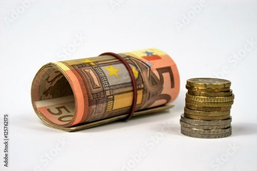 Tuinposter Egypte Bündel 50 Euro-Scheine und Kleingeld
