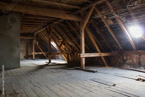Fotografie, Obraz attic , old loft /  roof before construction