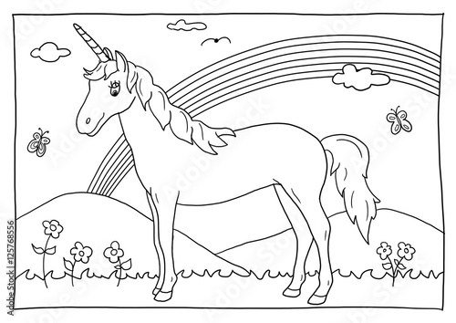 Ausmalbild Einhorn Kaufen Sie Diese Illustration Und Finden Sie