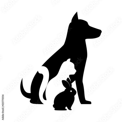 Fotografía  pet shop veterinary sign silhouette dog cat bunny vector illustration eps 10