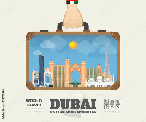 Hand carrying Dubai Landmark Global Travel And Journey Infograph