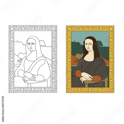 Fotografie, Tablou Linear flat illustration of portrait The Mona Lisa by Leonardo da Vinci