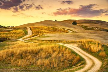 Fototapeta Toskania Tuscany landscape, rural road and green field. Volterra Italy