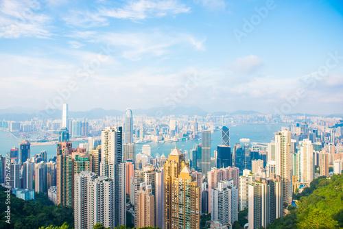Plakat Drapacza chmur widok od szczytu wierza, Hong kong