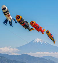 Colorful Flying Carp Flag Over Mount Fuji On Children's Day In Japan.