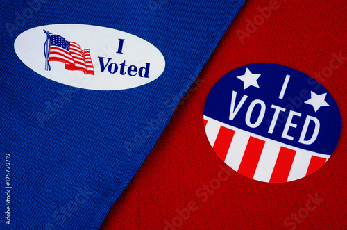 """Valokuva  """"I Voted"""" Political Sticker On Red And Blue Backgrounds, Republican Democrat Col"""