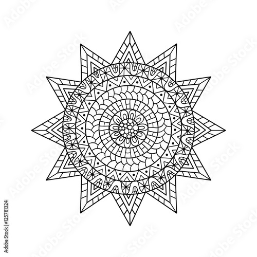 Photo  Hand drawn sun for anti stress colouring page.
