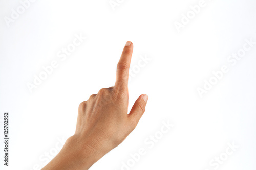 Fotografie, Tablou  Female hand tapping with one finger isolated on white