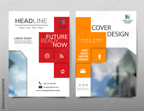 geometric annual report on background brochure template layout
