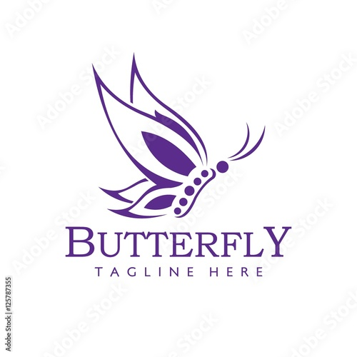 Fotobehang Vlinder Butterfly logo design template. Vector illustration of Beauty Icon logo.