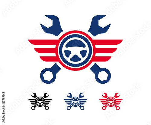 Wings Wrench Steering Car Logo Design - Buy this stock