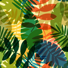 Fototapeta Las seamless vector pattern with tropical plants and palm leaves