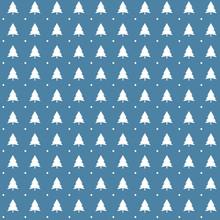 Blue Christmas Trees Seamless Pattern