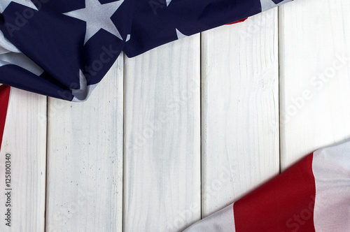 Fotografía United States of America flag with empty space to write your text on wooden back