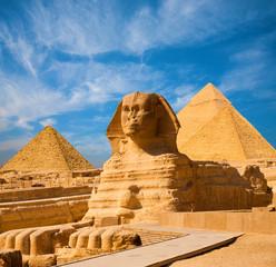 Sphinx Full Body Blue Sky Wszystkie piramidy Egipt