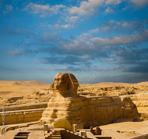 Fotografie, Obraz  Egypt Pyramids Sphinx Full Body Profile Blue Sky
