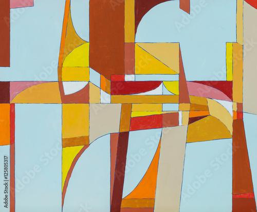 abstrakcyjny-obraz-w-cieplych-bawrach-inspirowany-futurystyczna-architekture-miejska