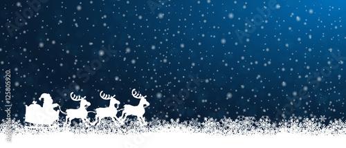 Foto-Doppelrollo - Weihnachtsschlitten - Blau (von ii-graphics)