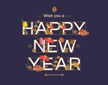 Happy New Year Typographic Des...