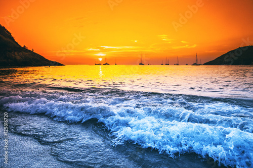 Yachts in the sea at sunset Poster