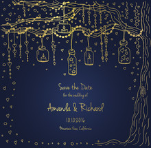 Unique Vector Wedding Cards Template With Hand Drawn Tree Decorated With Lantern, Hearts, Candle, Garland, Christmas Eve Invitation. Save The Date. Bridal Design Gold And Blue Texture, Natural Style.