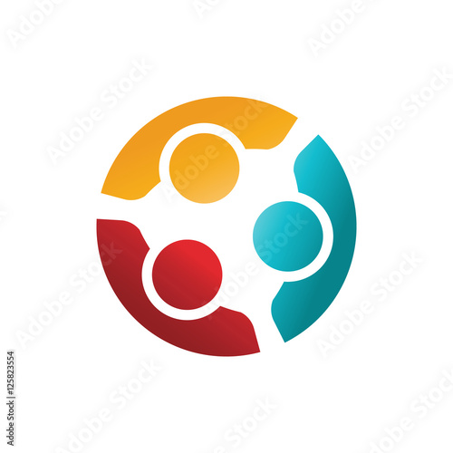 Fotografie, Obraz  Three Happy Confident People in a Round Meeting. Colorful Logo I