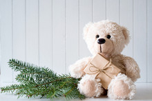 White Christmas Background With Teddy Bear - Copy Space
