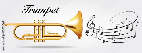 Canvas Print Trumpet and music notes