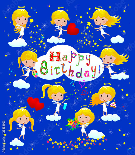 Happy Birthday greeting / Greeting Birthday card with angels.