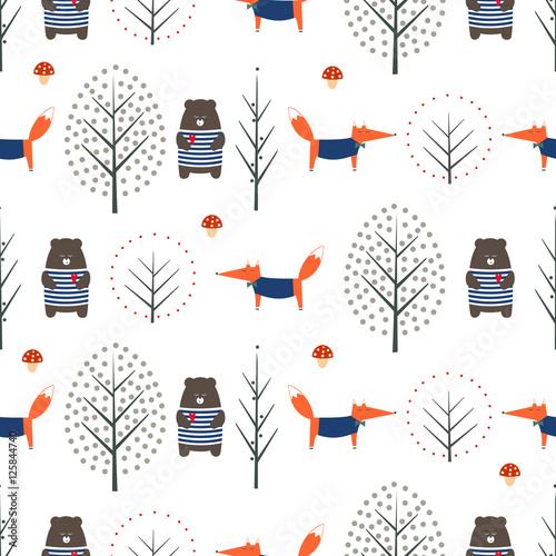 fox-niedzwiedz-jesieni-drzewa-i-pieczarkowy-bezszwowy-wzor-na-bialym-tle-sliczna-skandynawska-styl-natura-ilustracja-jesienny-las