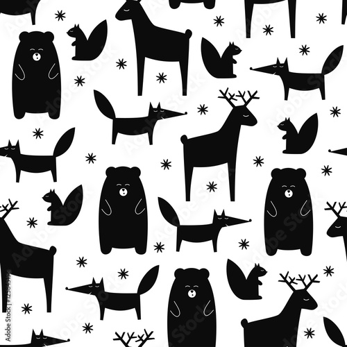 2a88a06f555 Black and white forest animals seamless pattern. Deer