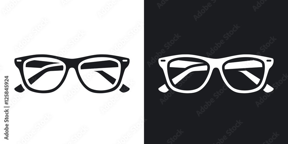 Fototapeta Two-tone version of Glasses simple icon on black and white background