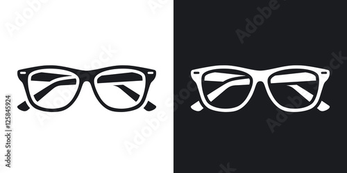 Photographie Two-tone version of Glasses simple icon on black and white background