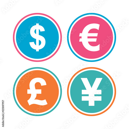 Dollar Euro Pound And Yen Currency Icons USD EUR GBP JPY Money Sign Symbols Colored Circle Buttons Vector