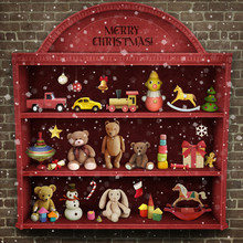 Holiday Greeting Card For Christmas Or New Year With  Showcase Of Toys