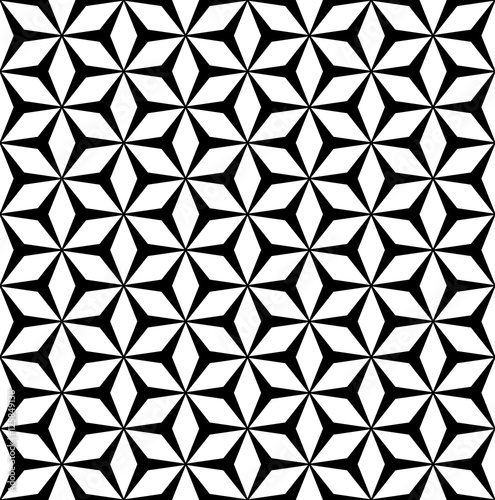 Set Of Black Flower Design Elements From My Big Floral: Vector Monochrome Seamless Pattern, Simple Repeat