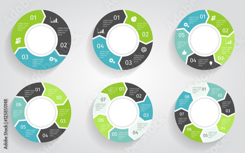 Circle arrows modern infographic set Canvas Print