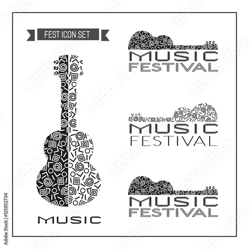 template design set of doodle acoustic guitar silhouettes vintage