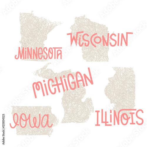 Minnesota, Wisconsin, Michigan,Iowa, Illinois USA State Outline