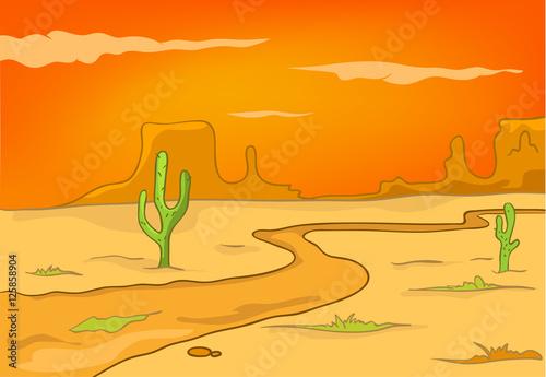 Cartoon Background Of Desert Landscape Kaufen Sie Diese