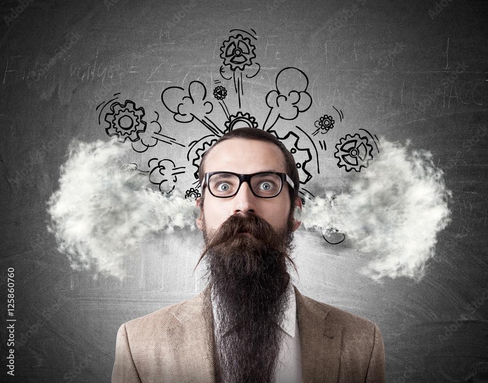 Fototapeta Baffled man with steaming head