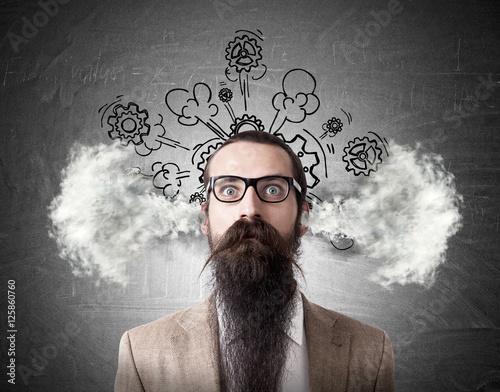 Fototapeta Baffled man with steaming head obraz
