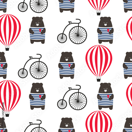 Cotton fabric Bear with bicycle and hot air balloon seamless pattern. Cute cartoon teddy with retro transport vector illustration. Child drawing style adventure background. Design for fabric, textile etc.