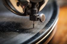 Needle Of Very Old Gramophone Playing Music, Macro Shot