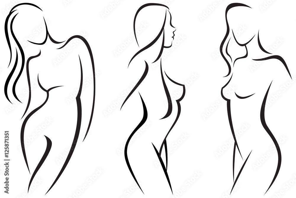 Fototapeta Vector set stylized beautiful women silhouettes