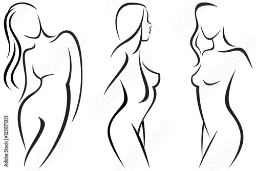 Obraz Vector set stylized beautiful women silhouettes - fototapety do salonu