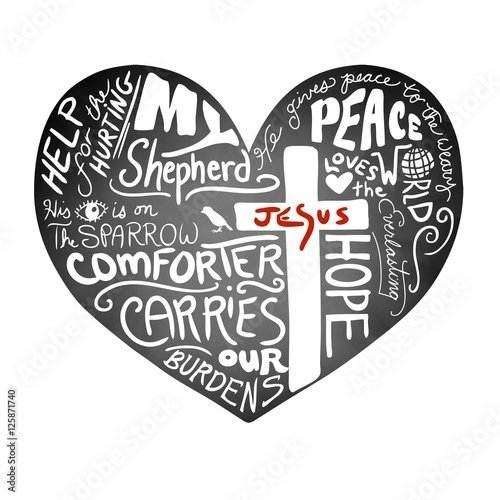 Fotografie, Obraz  chalkboard heart vector with white handwritten typography text with Christian cr