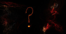 Question Mark In Flame Effects On Black Background