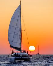 Sailing At Sunset Off Santorini